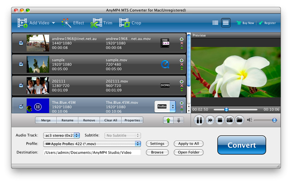 MTS Converter for Mac - Convert MTS to video on Mac and any protable device